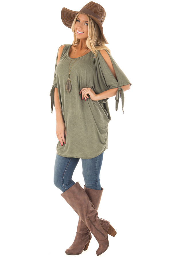 Olive Mineral Wash Loose Fit Tunic front full body