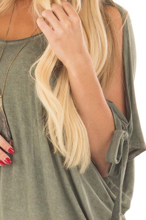 Olive Mineral Wash Loose Fit Tunic detail