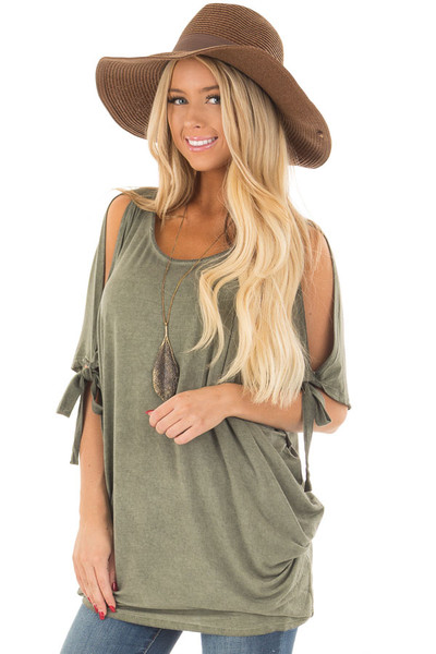Olive Mineral Wash Loose Fit Tunic front close up
