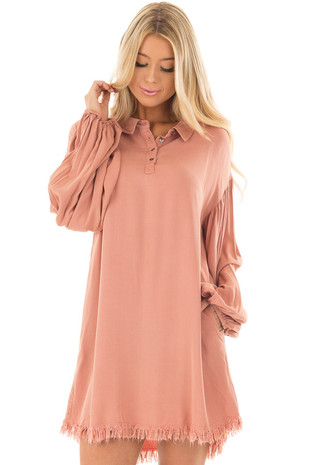 Salmon Bubble Sleeve Dress with Fringe Detail front close up