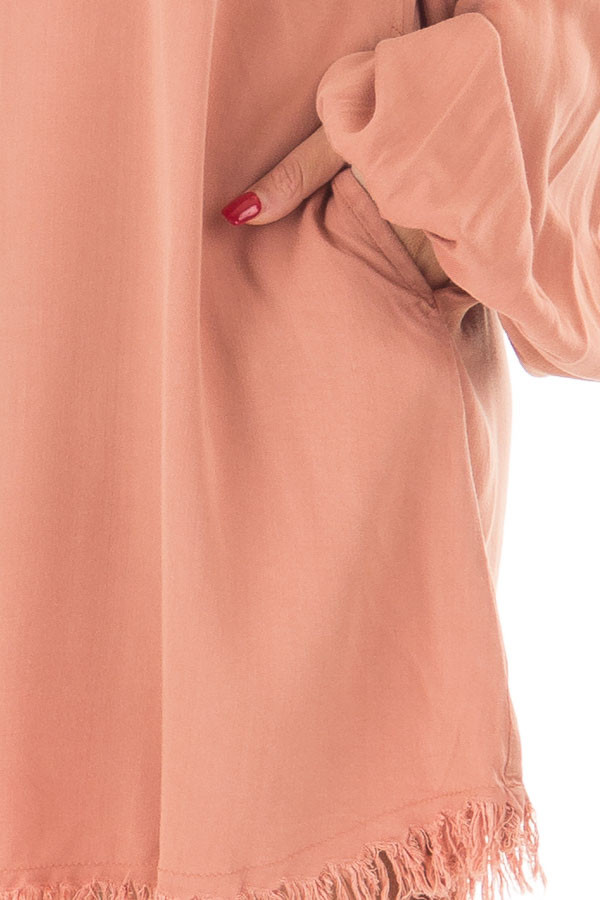 Salmon Bubble Sleeve Dress with Fringe Detail detail