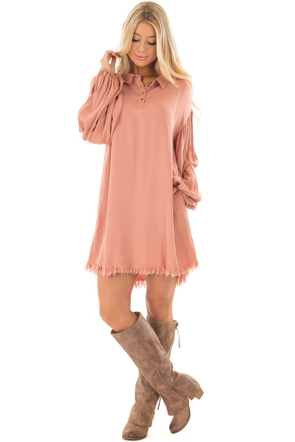 Salmon Bubble Sleeve Dress with Fringe Detail front full body