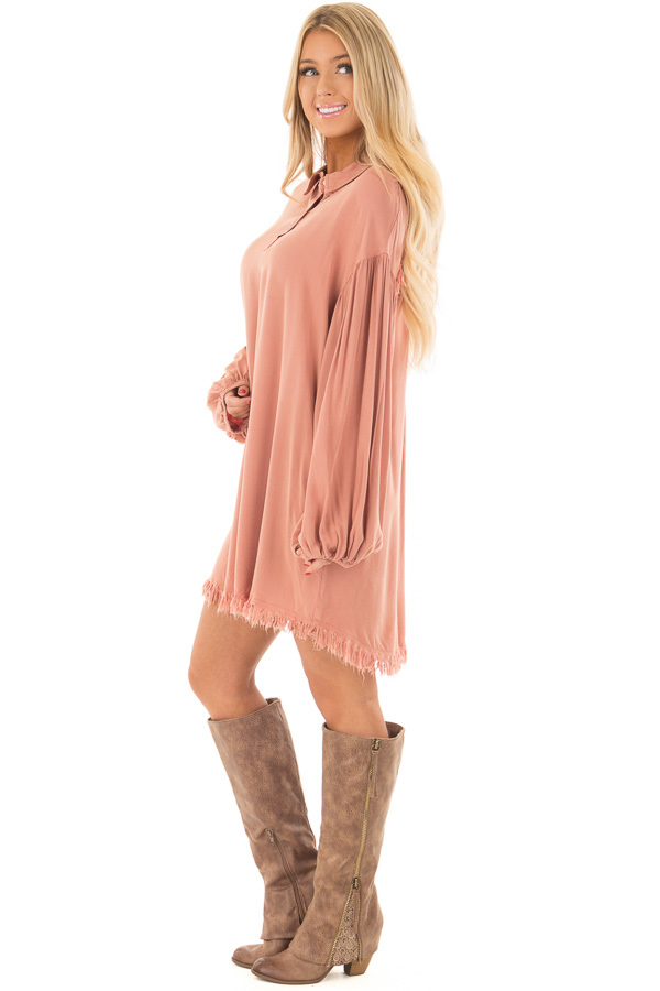 Salmon Bubble Sleeve Dress with Fringe Detail side full body