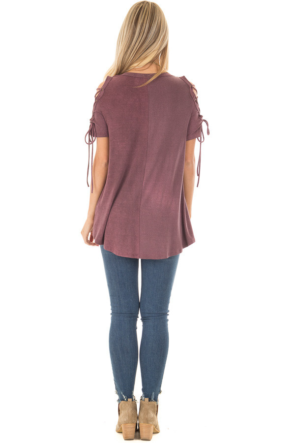 Plum Mineral Wash Tee with Lace Up Cold Shoulders back full body