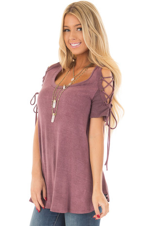 Plum Mineral Wash Tee with Lace Up Cold Shoulders front close up