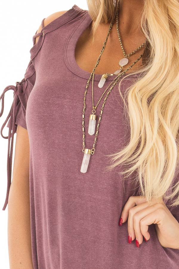 Plum Mineral Wash Tee with Lace Up Cold Shoulders detail