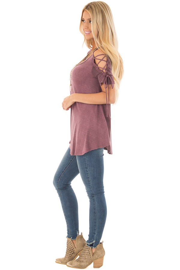 Plum Mineral Wash Tee with Lace Up Cold Shoulders side full body