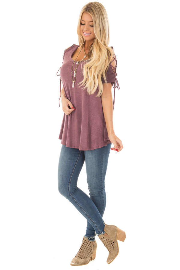 Plum Mineral Wash Tee with Lace Up Cold Shoulders front full body