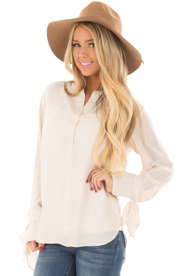 Cream Half Button Up Blouse front close up