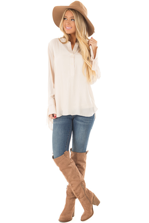 Cream Half Button Up Blouse front full body