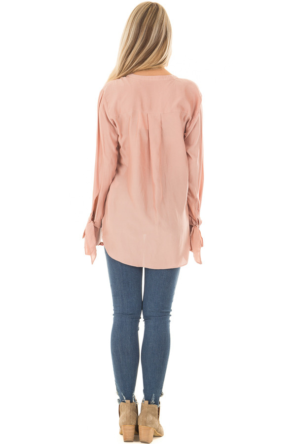 Blush Half Button Up Blouse back full body
