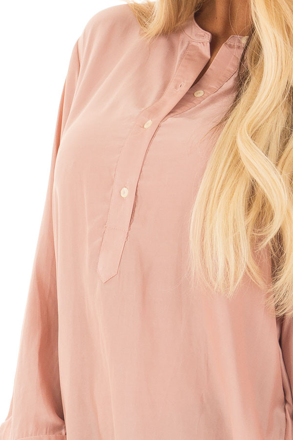 Blush Half Button Up Blouse detail