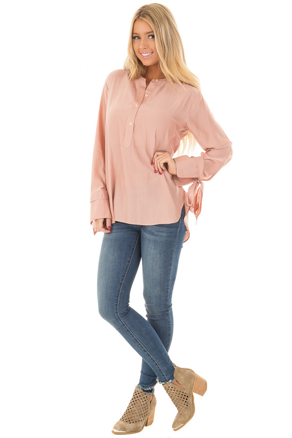 Blush Half Button Up Blouse front full body