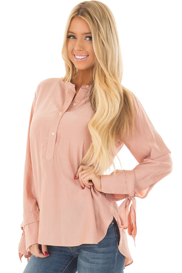 Blush Half Button Up Blouse front close up