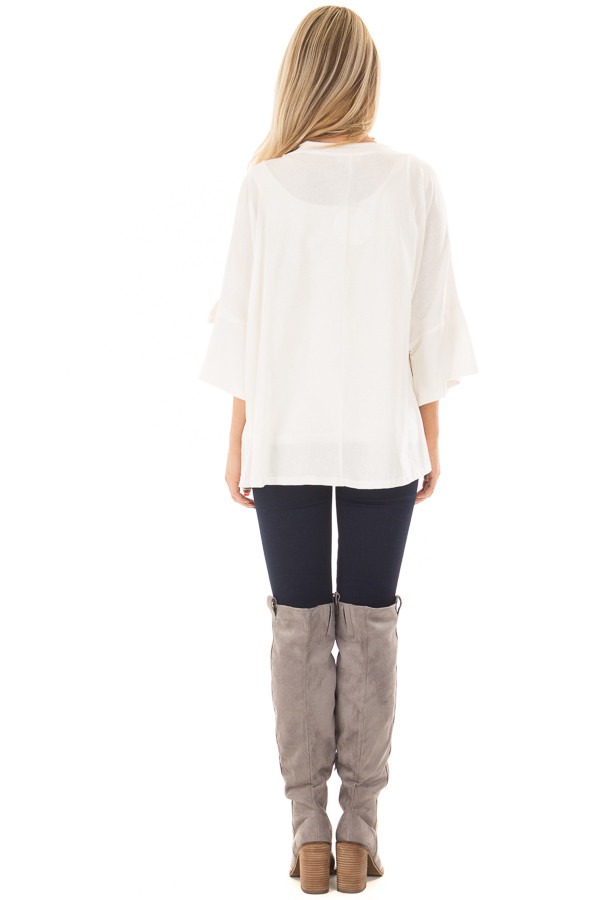 Off White Oversized 3/4 Sleeve Top with Tie Detail back full body