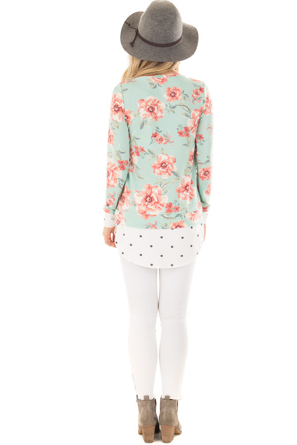 Sky Blue Floral Print Top with Polka Dot Contrast back full body