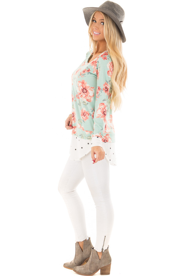 Sky Blue Floral Print Top with Polka Dot Contrast side full body