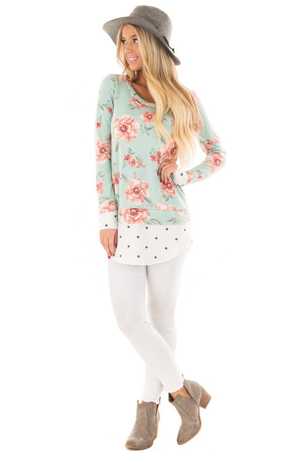 Sky Blue Floral Print Top with Polka Dot Contrast front full body