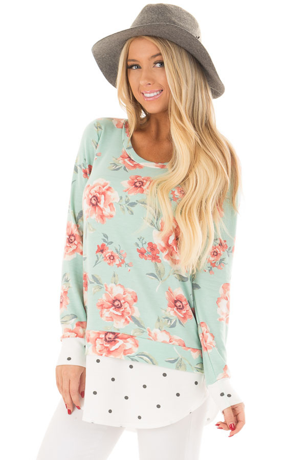 Sky Blue Floral Print Top with Polka Dot Contrast front close up