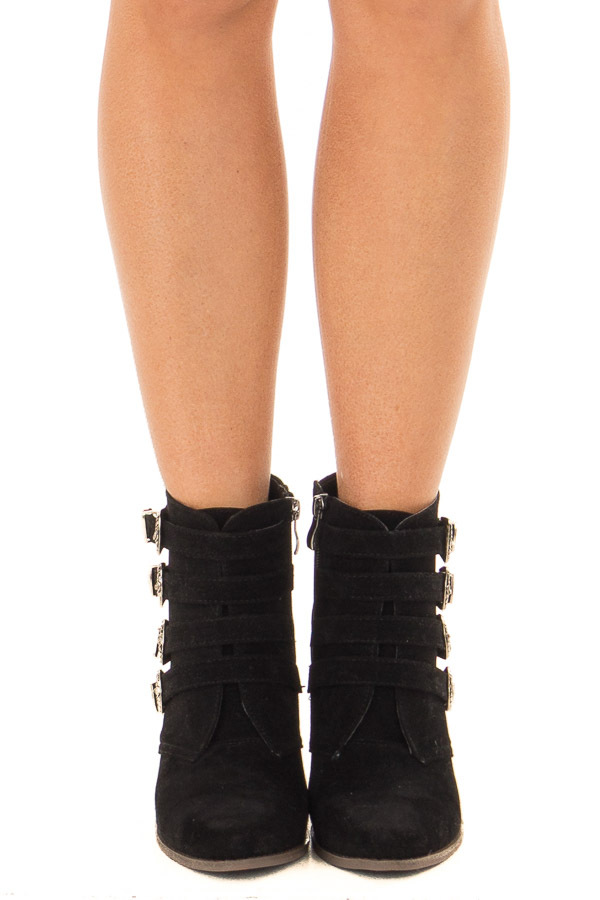 Black Faux Suede Bootie with Western Buckle Details front view