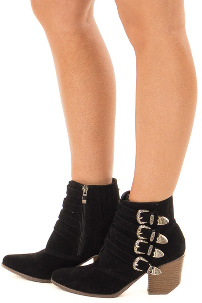 Black Faux Suede Bootie with Western Buckle Details side view