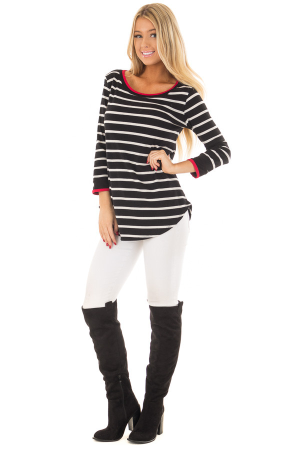 Black and White Striped Tee Shirt with Red Trim front full body