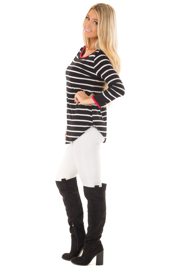 Black and White Striped Tee Shirt with Red Trim side full body