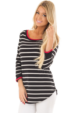 Black and White Striped Tee Shirt with Red Trim front close up