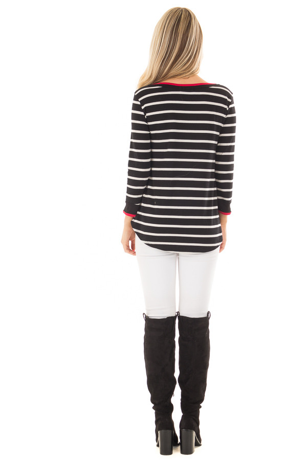 Black and White Striped Tee Shirt with Red Trim back full body