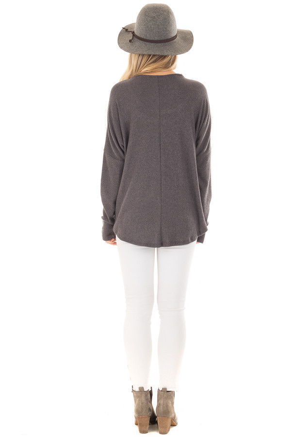 Charcoal Ribbed Top with V Band Neckline back full body