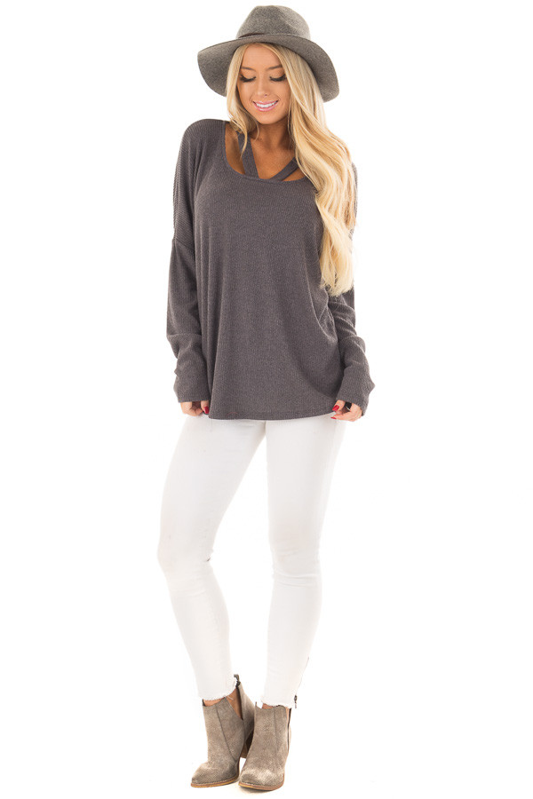 Charcoal Ribbed Top with V Band Neckline front full body