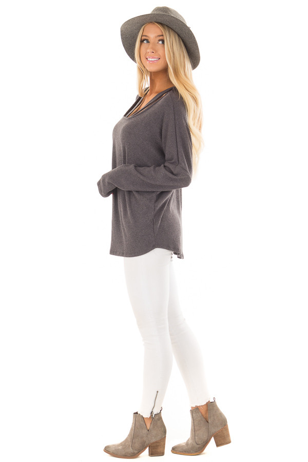 Charcoal Ribbed Top with V Band Neckline side full body