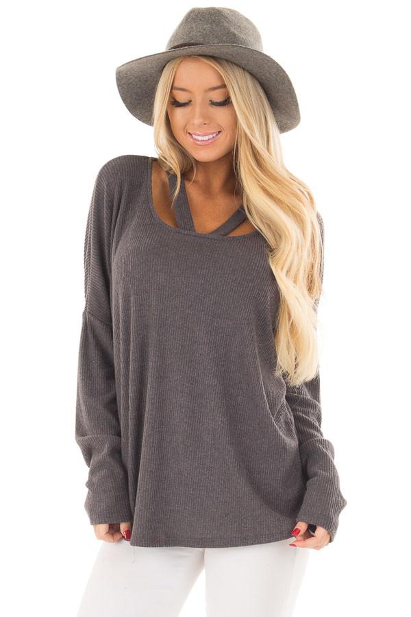 Charcoal Ribbed Top with V Band Neckline front close up