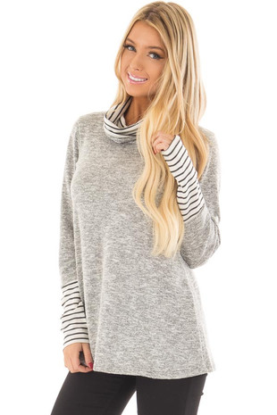 Grey Two Tone Top with Striped Cowl Neck and Cuffs front close up