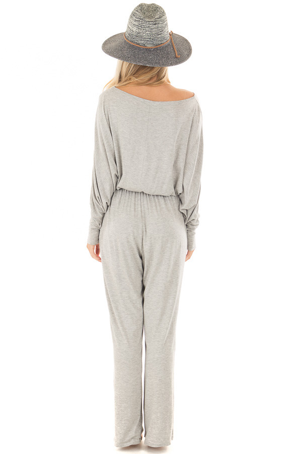 Light Grey Off the Shoulder Jumpsuit with Waist Tie back full body