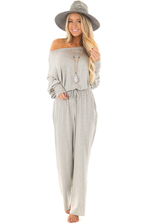 Light Grey Off the Shoulder Jumpsuit with Waist Tie front full body