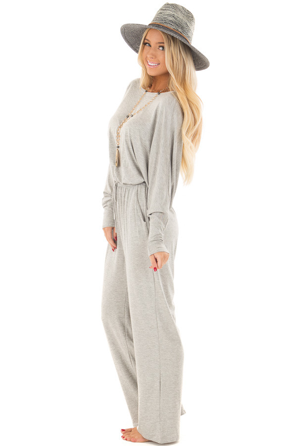 Light Grey Off the Shoulder Jumpsuit with Waist Tie side full body