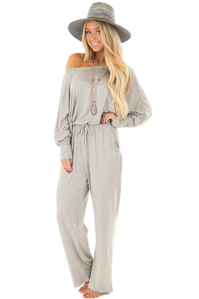 Light Grey Off the Shoulder Jumpsuit with Waist Tie front close up