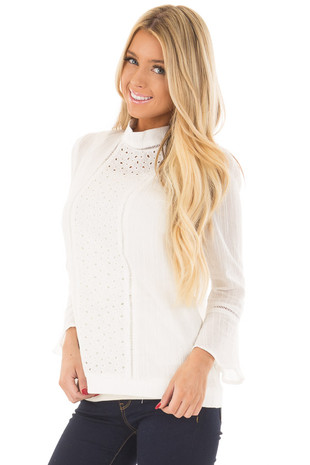 Off White High Neck Top with Sheer Lace Detail front close up