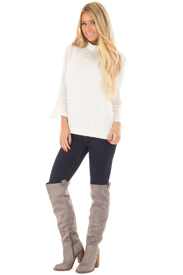 Off White High Neck Top with Sheer Lace Detail front full body