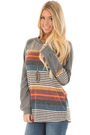 Multicolor Striped Top with Raglan Sleeves and Elbow Patches front close up