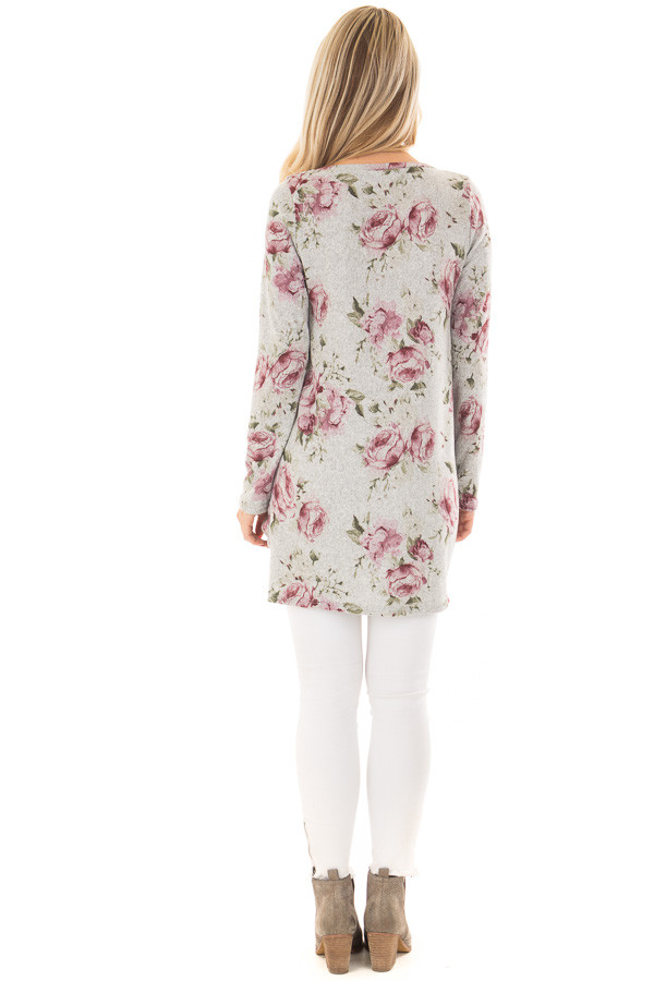 Heather Grey Floral Print Tunic with Front Twist back full body