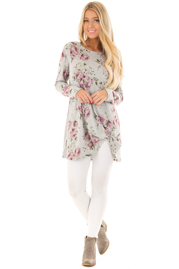 Heather Grey Floral Print Tunic with Front Twist front full body