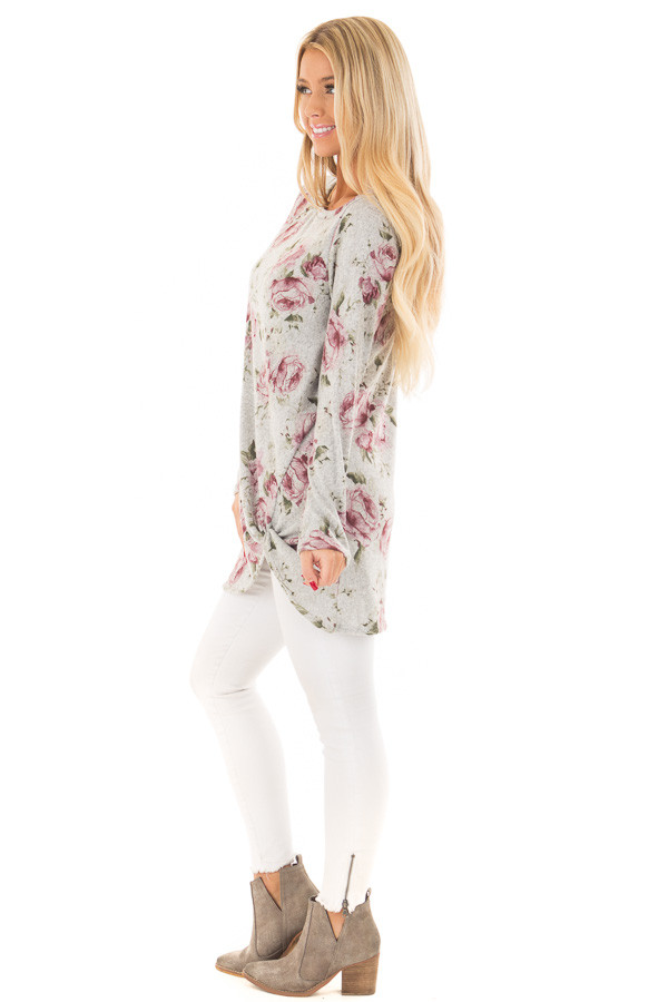 Heather Grey Floral Print Tunic with Front Twist side full body
