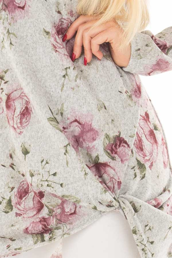 Heather Grey Floral Print Tunic with Front Twist detail