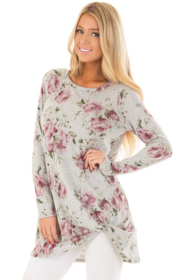 Heather Grey Floral Print Tunic with Front Twist front close up