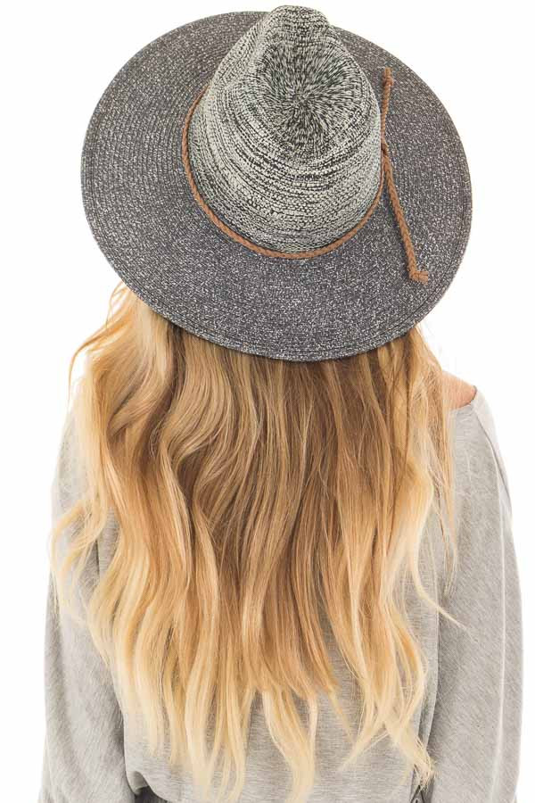 Navy Wide Brim Panama Hat with Braided Trim back view