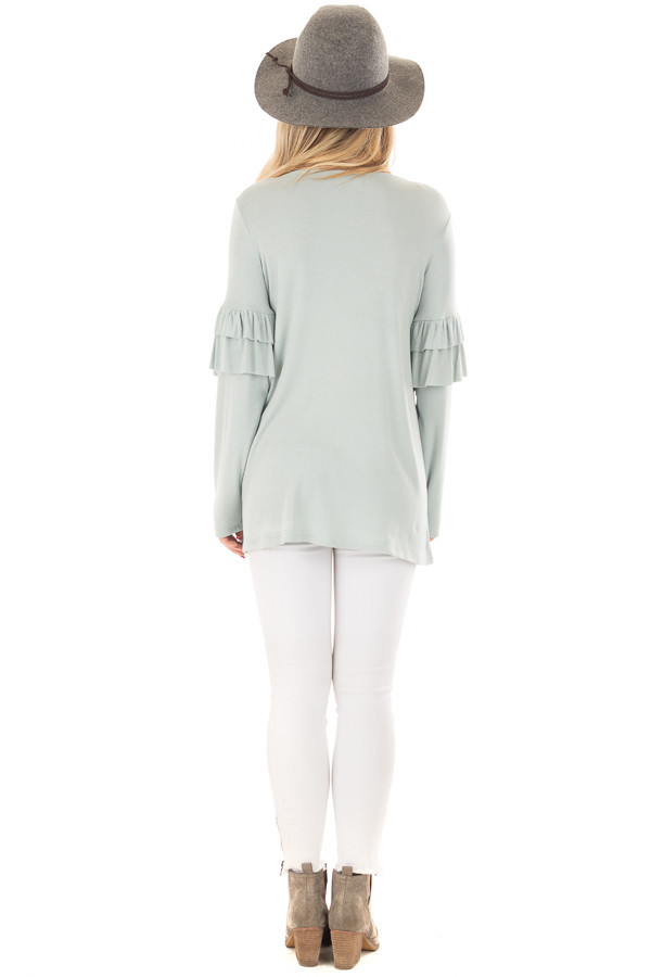 Dusty Blue Comfy Fit Top with Ruffled Long Sleeves back full body
