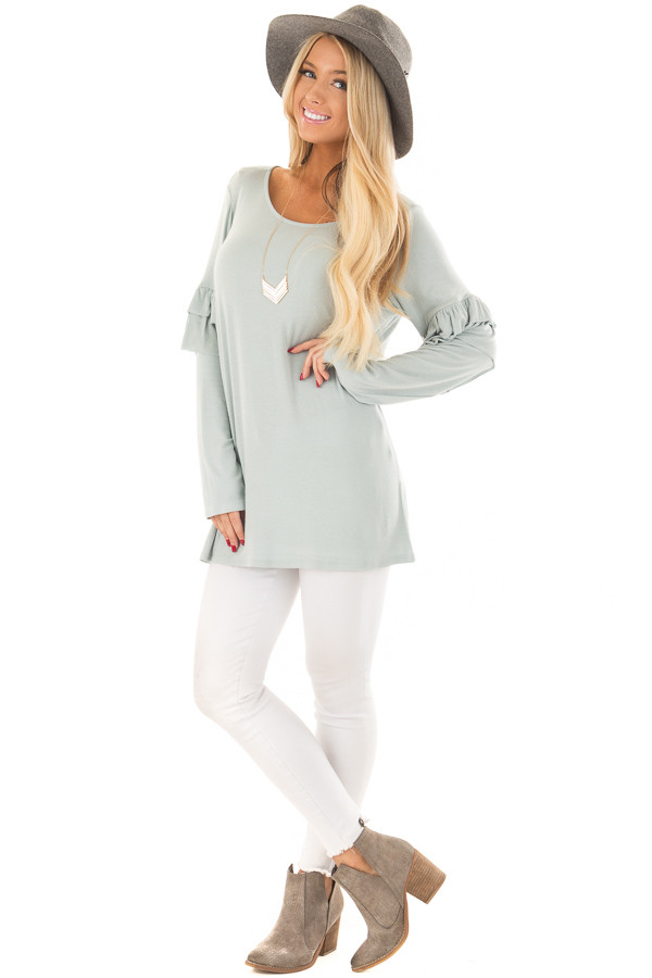 Dusty Blue Comfy Fit Top with Ruffled Long Sleeves front full body
