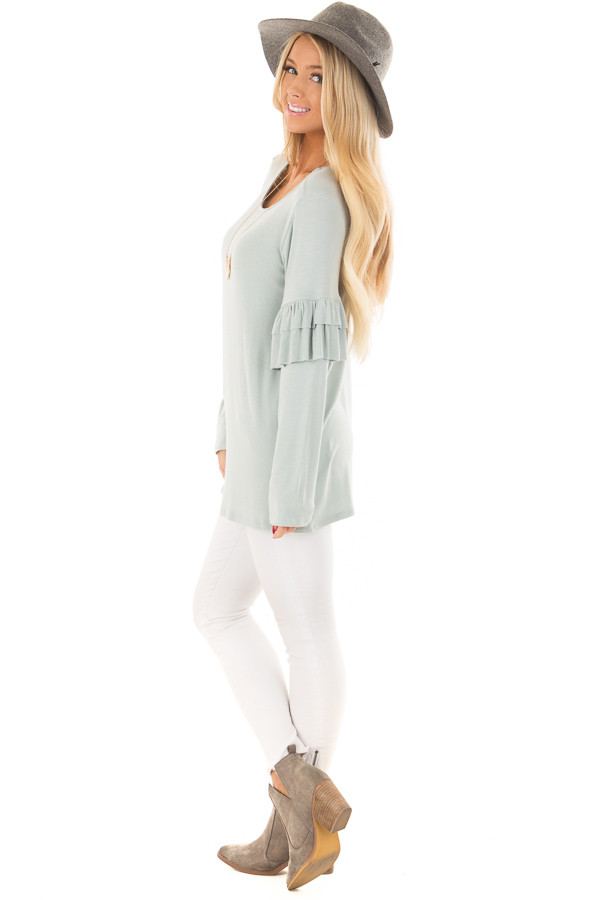 Dusty Blue Comfy Fit Top with Ruffled Long Sleeves side full body